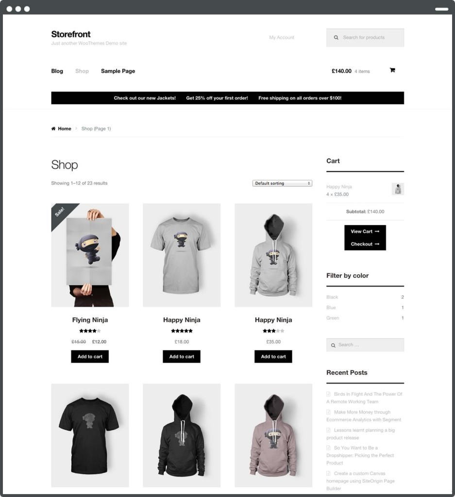 1 StoreFront主题1- WooCommerce购物商城的WordPress主题