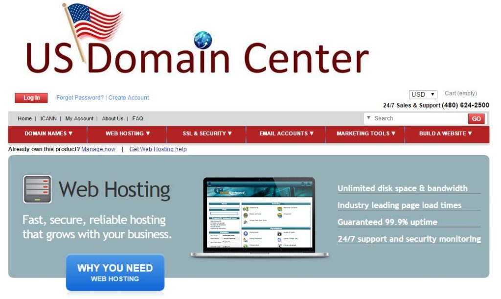 US Domain Center可靠的虚拟主机空间(Web Hosting)