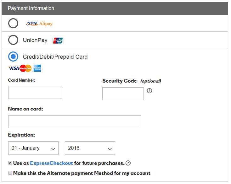 如何用支付宝(AliPay)或银联(UnionPay)购买US Domain Center的域名和空间 Checkout